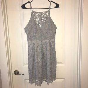 Paper Crane Lace High Neck Fit and Flare Dress